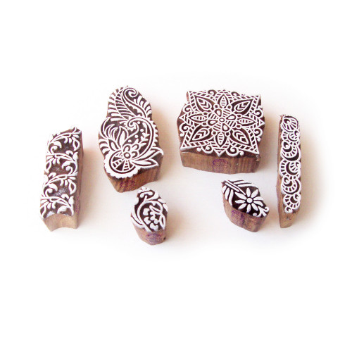 (Set of 6) Leaf and Square Hand Crafted Motif Wood Block Stamps