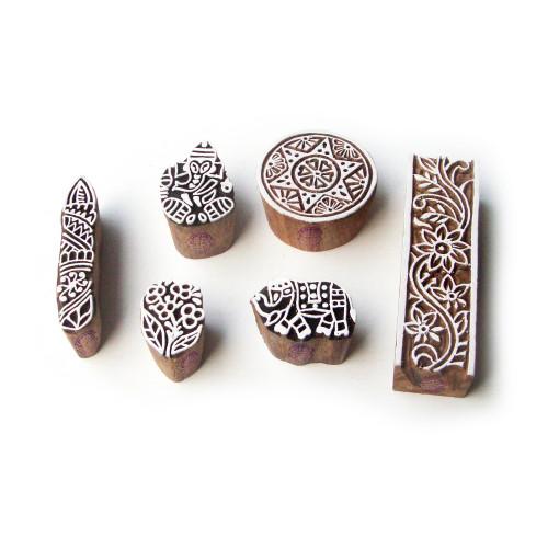 (Set of 6) Elephant and Ganesha Handmade Motif Wood Block Stamps