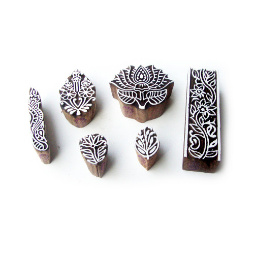 (Set of 6) Lotus and Floral Hand Carved Motif Wood Block Stamps
