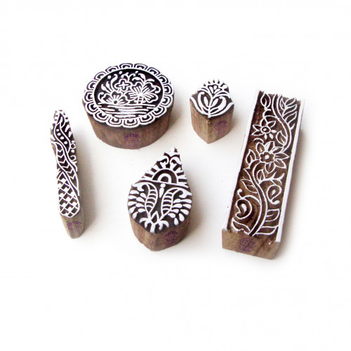 (Set of 5) Assorted and Floral Asian Motif Wood Block Stamps