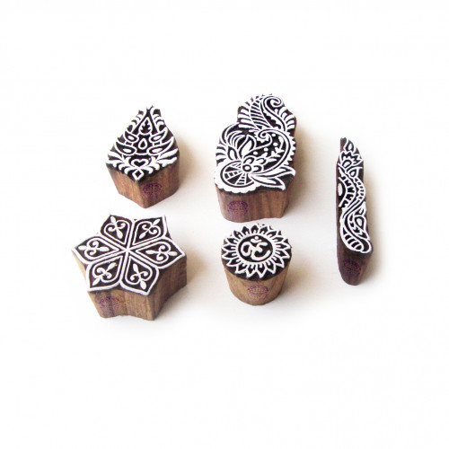 (Set of 5) Hexa and Religious Traditional Motif Wood Block Stamps