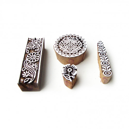 (Set of 4) Round and Border Hand Carved Motif Wood Block Stamps