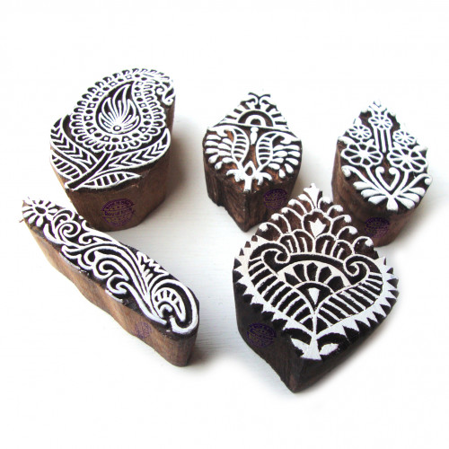 (Set of 5) Ethnic Paisley and Floral Motif Wood Print Stamps