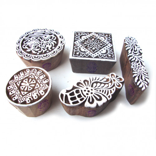 (Set of 5) Contemporary Round and Floral Motif Wood Print Stamps