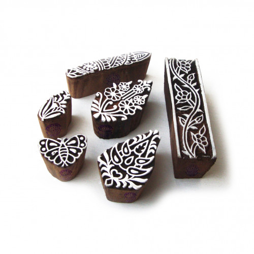 (Set of 6) Handcrafted Leaf and Butterfly Motif Wood Print Stamps