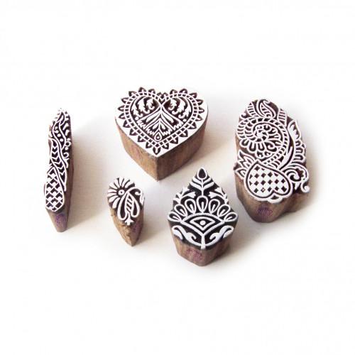 (Set of 5) Heart and Floral Original Motif Wood Print Stamps