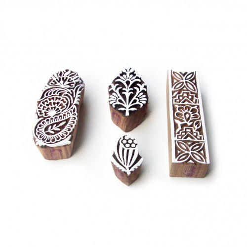 (Set of 4) Assorted and Floral Hand Crafted Motif Wood Print Stamps