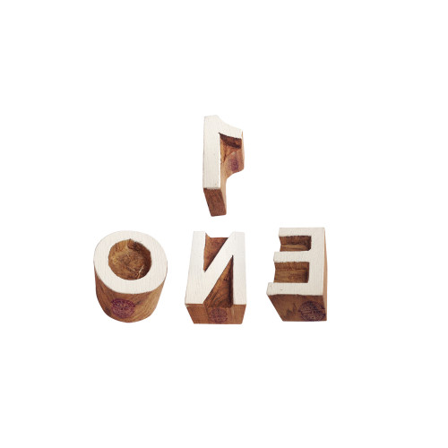 (Set of 4) Learning Wooden Stamps Handmade Letter Number Pattern Printing Blocks