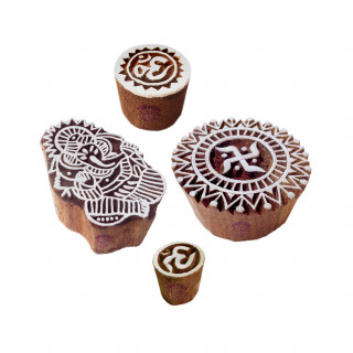 (Set of 4) Crafty Motif Ganesha and Om Wooden Printing Stamps