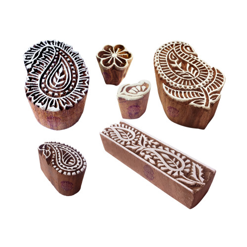 (Set of 6) Textile Wooden Blocks Retro Paisley Design Printing Stamps