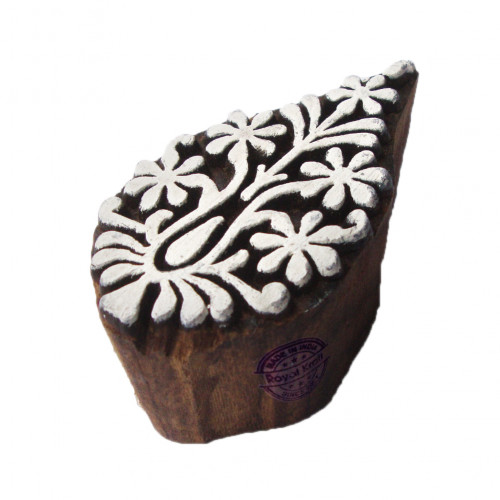 Handmade Print Blocks Floral Paisley Designs Wooden Stamps