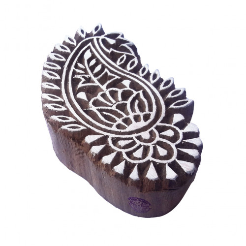 Ornate Printing Stamps Paisley Motif Wooden Blocks
