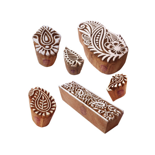 (Set of 6) Tattoo Printing Blocks Popular Paisley Pattern Wooden Stamps