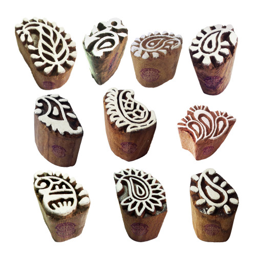 (Set of 10) Mehndi Print Blocks Handcrafted Small Paisley Pattern Wooden Stamps