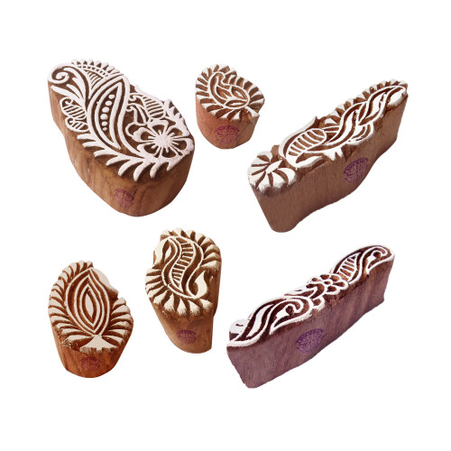 (Set of 6) Pottery Printing Blocks Ethnic Paisley Shape Wood Stamps