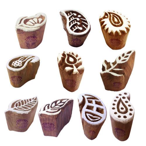 (Set of 10) Pottery Printing Blocks Jaipuri Small Paisley Shape Wood Stamps