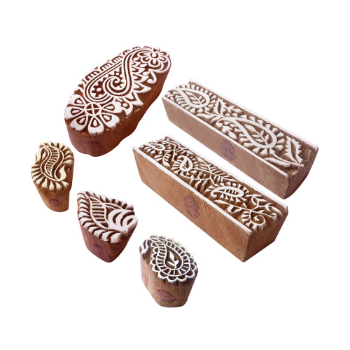 (Set of 6) Henna Print Stamps Indian Paisley Shape Wooden Blocks