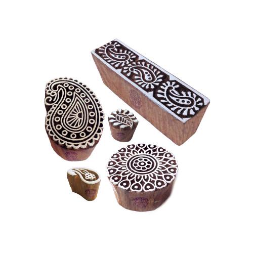 (Set of 5) Urban Pattern Mandala and Paisley Wood Print Blocks