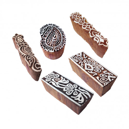 (Set of 5) Ethnic Designs Border and Paisley Wood Print Stamps