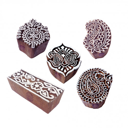 (Set of 5) Innovative Designs Flower and Paisley Wooden Printing Blocks