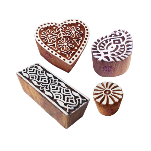 (Set of 4) Exquisite Designs Mix and Paisley Wooden Printing Blocks