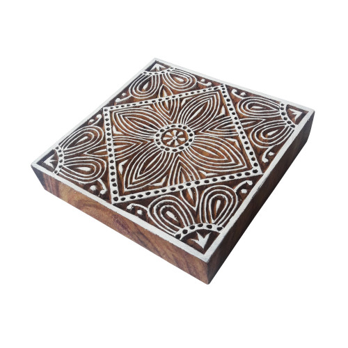 4 Inch Jaipuri Large Wooden Stamp Square Floral Pattern Big Printing Block