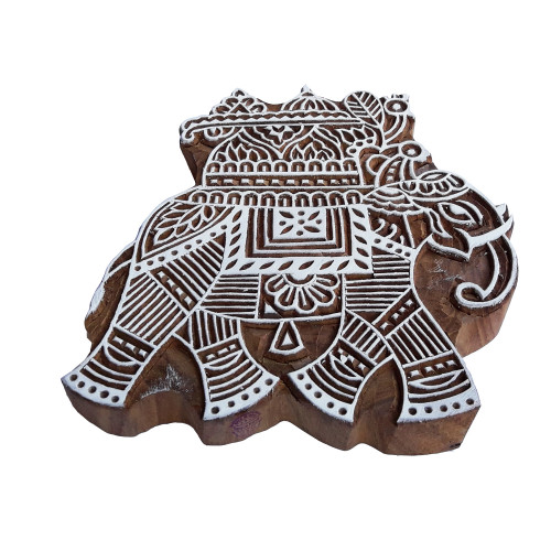 6.2 Inch Body Tattoo Wooden Stamp Large Elephant Pattern Big Printing Block