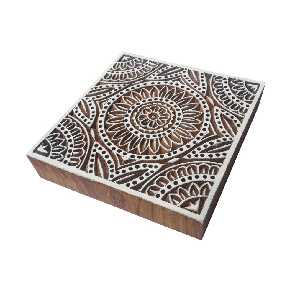 8f1434ffa4 6 Inch Handmade Large Print Stamp Square Floral Pattern Big Wood ...