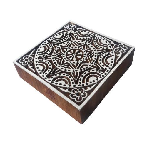 6 Inch Elegant Large Print Stamp Flower Square Pattern Big Wood Block