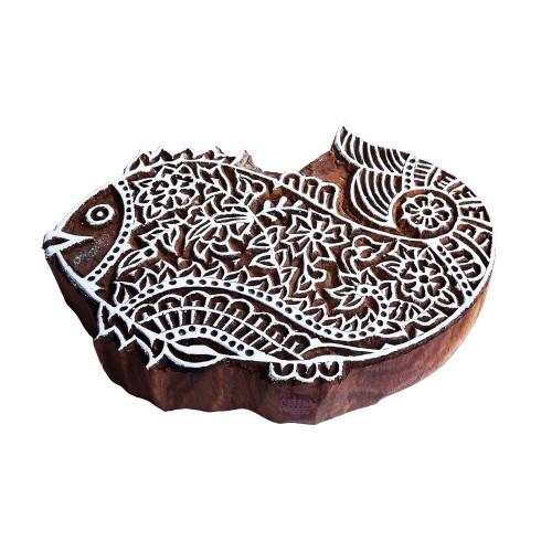 5.5 Inch Mehndi Print Stamp Large Fish Pattern Big Wood Block