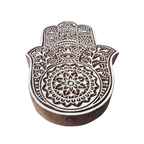 8 Inch Handcrafted Print Stamp Large Hamsa Hand Pattern Big Wood Block