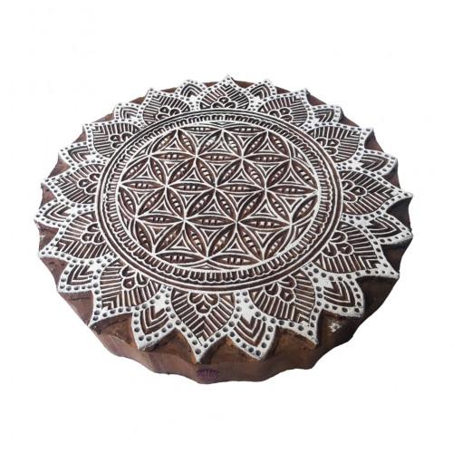 8 Inch Popular Large Printing Block Mandala Round Pattern Big Wooden Stamp