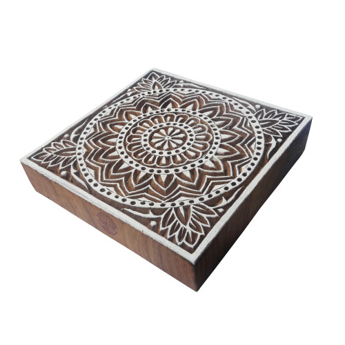 6 Inch Attractive Large Print Block Flower Square Pattern Big Wooden Stamp