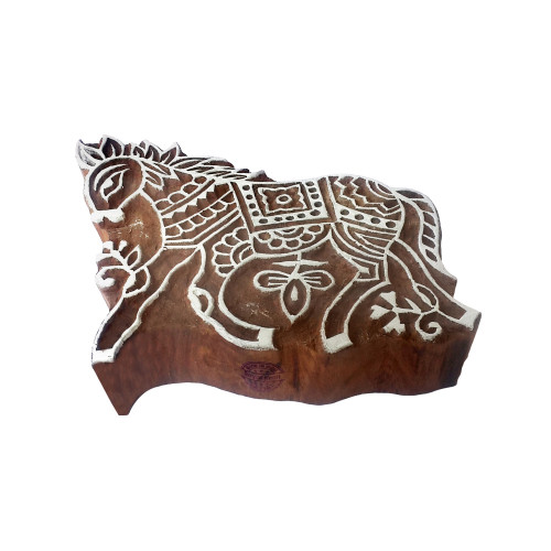 3.9 Inch Traditional Printing Block Large Horse Pattern Big Wooden Stamp