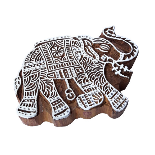 7.5 Inch Hand Carved Printing Block Large Elephant Pattern Big Wooden Stamp