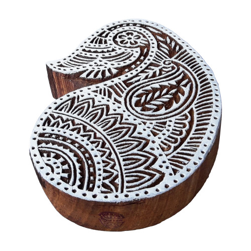 5.7 Inch Exclusive Print Block Large Paisley Pattern Big Wooden Stamp