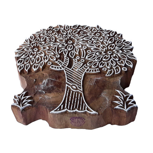 5.5 Inch Indian Print Block Large Leafy Tree Pattern Big Wooden Stamp