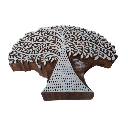 7.8 Inch Decorative Printing Block Large Banyan Tree Pattern Big Wooden Stamp