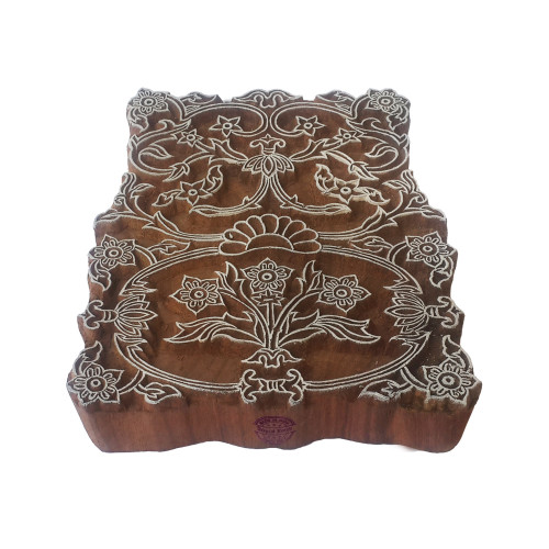 6 Inch Intricate Print Block Large Floral Border Pattern Big Wooden Stamp