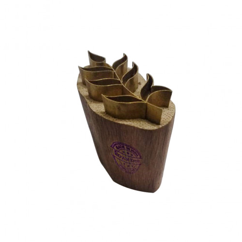 Exclusive Wooden Stamp Brass Leaf Pattern Clay Printing Block