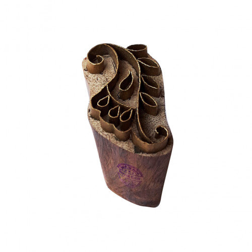 Decorative Print Stamp Brass Flower Pattern Wood Clay Block