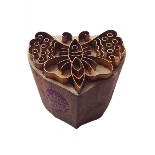 Classy Print Stamp Brass Butterfly Pattern Wood Clay Block