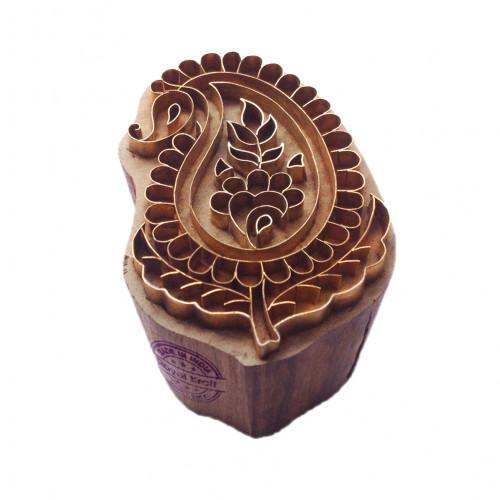 Ornate Print Stamp Brass Paisley Pattern Wood Clay Block