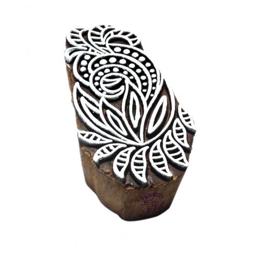 Intricate Fancy Swirl Pattern Wooden Block Stamp