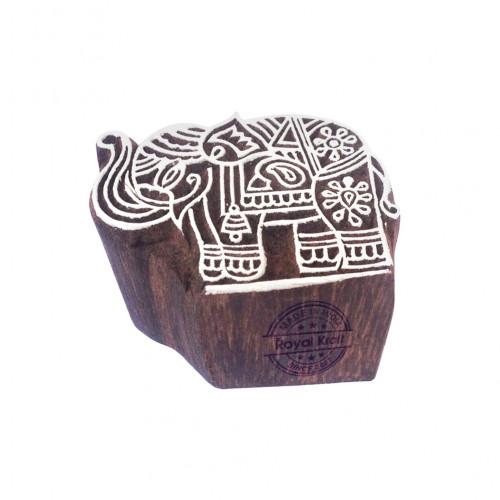 Classy Elephant Animal Pattern Wooden Block Stamp
