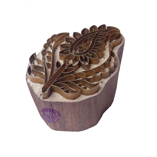 Crafty Print Block Brass Paisley Pattern Wooden Clay Stamp
