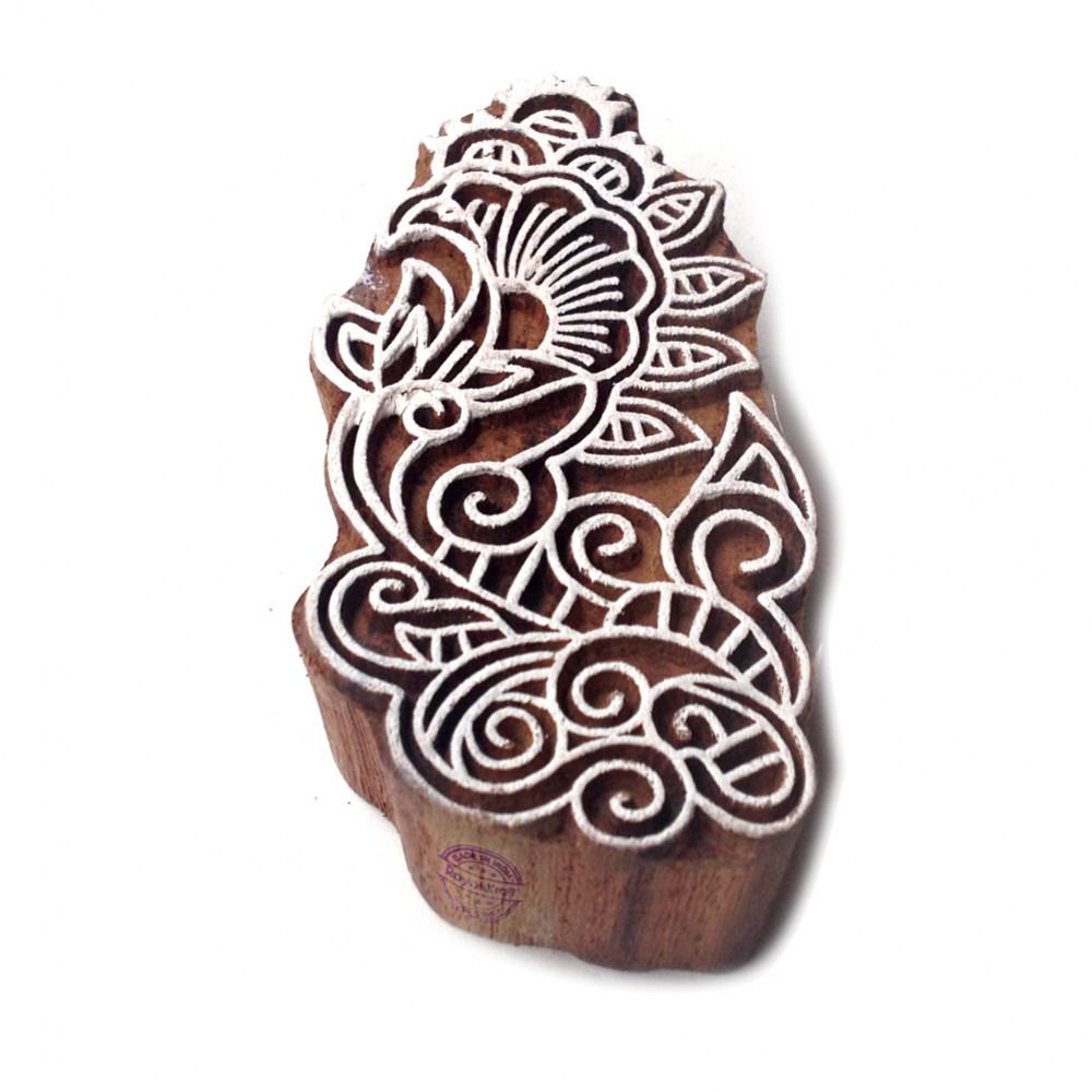 Indian Abstract Leaf Pattern Wooden Printing Block
