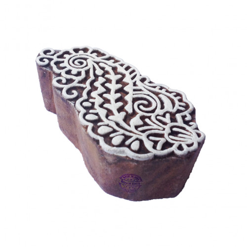Crafty Oriental Leaf Pattern Wooden Printing Block