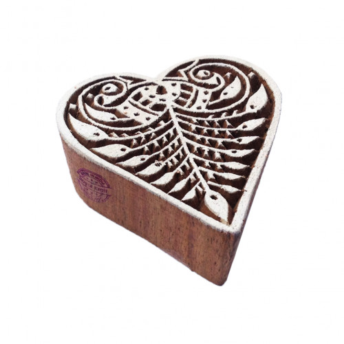 Fancy Floral Heart Pattern Wooden Printing Block