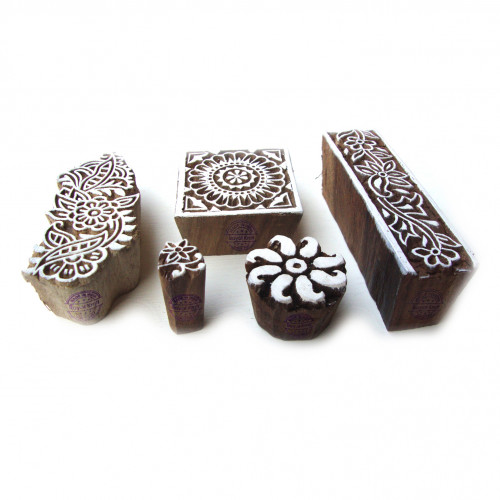 (Set of 5) Decorative Floral and Assorted Pattern Wooden Printing Blocks